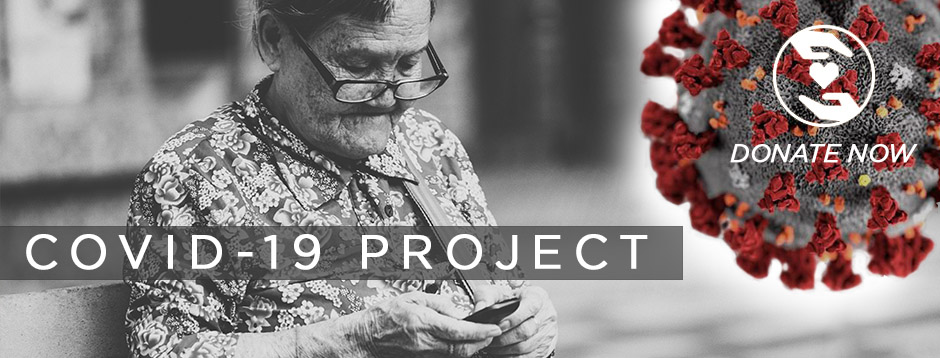 COVID-19 Project Header Image - Elderly lady listening to an audio Bible